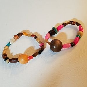 "Set 2 Handmade Wood Bead Stretch 8"" Bracelets"